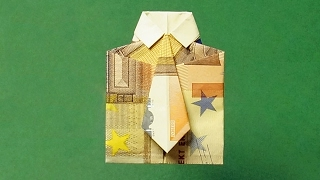 getlinkyoutube.com-Geldscheine falten, Hemd mit Krawatte für Geldgeschenke
