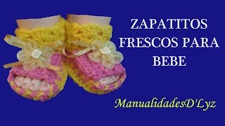 getlinkyoutube.com-Como tejer zapatitos para bebe a crochet paso paso - Zapatitos frescos