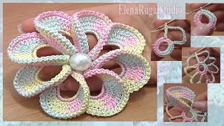 getlinkyoutube.com-3D Spiral 8-Petal Flower Trim Around Tutorial 56 Perustekniikoilla virkattu kukka