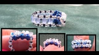 getlinkyoutube.com-Beading4perfectionists :  3 Part row beginners ring beading tutorial