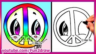 getlinkyoutube.com-Rainbow Peace Sign - How to Draw Easy Cartoons - Fun2draw drawings