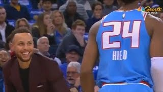 Stephen Curry Laughs at Buddy Hield & Exposes Him For Stepping Out Of Bounds!