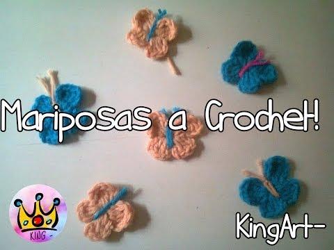 Mariposas tejidas al Crochet - Tutorial - (ENGLISH PATTERN) KingOfCrochet
