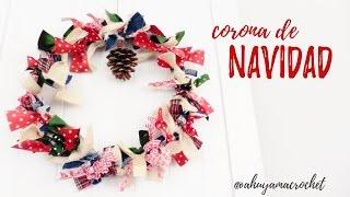 getlinkyoutube.com-CORONA de NAVIDAD con cintas y retales | Ahuyama Crochet