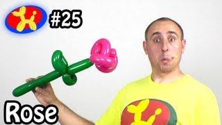 getlinkyoutube.com-Two Balloon Rose Flower - Balloon Animal Lessons #25 ( globoflexia)