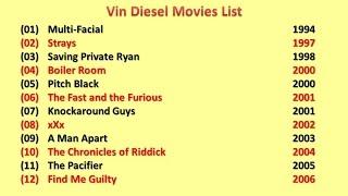 Vin Diesel  Movies List
