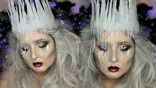 getlinkyoutube.com-Ice Queen Makeup Tutorial | DIY Ice Crown | Jordan Hanz