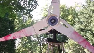 getlinkyoutube.com-Homemade Wind Generator Built from Ceiling Fan, Demo