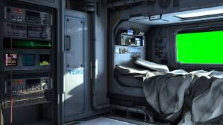 SciFi Spaceship Bedroom with Green Screen -  Movie Background