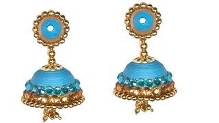 getlinkyoutube.com-Beautiful Paper Quilling Ear Ring Jhumka for Silk Saree - DIY Tutorial