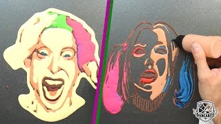 getlinkyoutube.com-The Joker and Harley Quinn Pancake Art