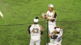 試合前にふざけ合う中田翔・菊池涼介・高橋朋巳 プロ野球オールスターゲーム2015 東京ドーム