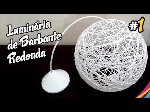 Luminaria de Barbante / Twine Lampshade Round / Lampara Colgante de Hilo DIY #1
