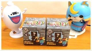 getlinkyoutube.com-Minecraft Mini-Figure Toy YO-KAI WATCH Surprise Eggs Whisper bushinyan Toy Unboxing Review