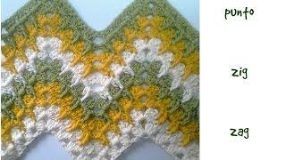 getlinkyoutube.com-Muestra punto zig zag a crochet