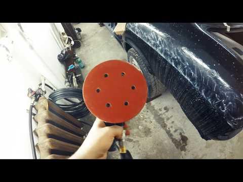 Полировка лака на левом заднем крыле BMW e34 540 Убираем подтеки Результат покраски проема