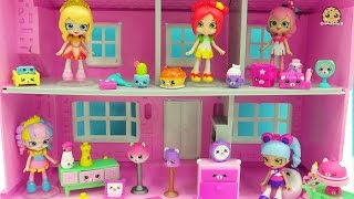 getlinkyoutube.com-Shopkins Happy Places Shoppies Dolls + Kitty Dinner Party & Slumber Bear Party Petkins Blind Bags
