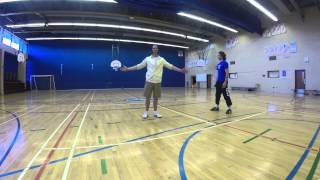 Insane 360 degree basketball kick shot