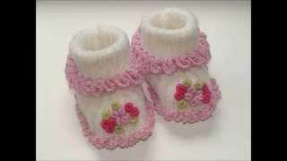 getlinkyoutube.com-Zapatitos para bebe recién nacido en crochet