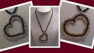 getlinkyoutube.com-Beaded Heart Pendant Beading Tutorial by Honeybeads1 (Photo tutorial with twin beads)
