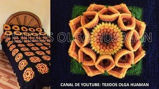 Cuadrado o muestra para colcha tejido a crochet paso a paso