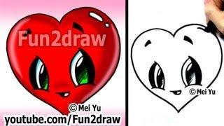 getlinkyoutube.com-How to Draw a Heart - Easy & Cute! - Popular Cartoon Drawing Video - Fun2draw