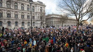 British MP's debate Trump's UK State Visit Protesters gather outside Westminster