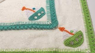 getlinkyoutube.com-Crochet Border For Baby Towel كروشيه إطار لمناشف الأطفال