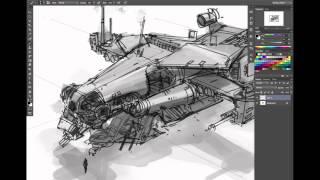 getlinkyoutube.com-Ryan Dening Dropship Concept Art Tutorial - Part 1: Thumbnails