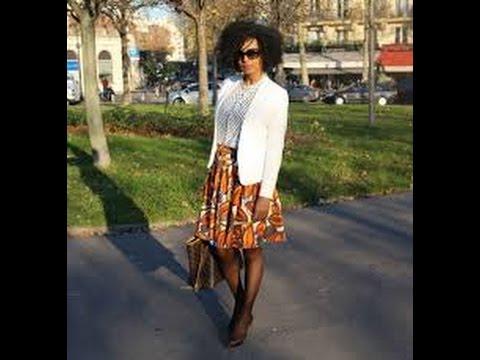 Customiser une jupe en jean avec du pagne africain ( wax), chaussures, bijoux....