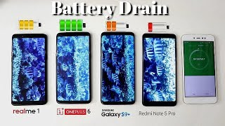 Realme 1 Vs Redmi Note 5 Pro Vs OnePlus 6 Vs Samsung S9 Plus Battery Drain Test I Hindi