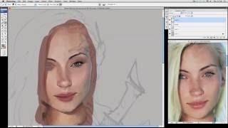 getlinkyoutube.com-Digital Painting (with Eyedrop) - Female Face Time Lapse