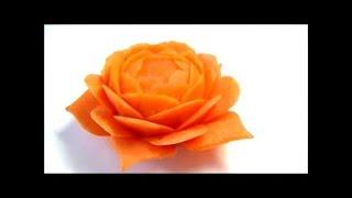 getlinkyoutube.com-Art of vegetable Carrot carving Flower Garnish 人参の飾り切り お花の作り方 ベジタブルカービング