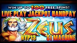getlinkyoutube.com-☆JACKPOT HANDPAY☆ WMS - $1 Zeus Slot LIVE PLAY & Bonus
