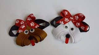 getlinkyoutube.com-PUPPY DOG Ribbon Sculpture Zoo Animal Hair Clip Bow DIY Free Tutorial by Lacey