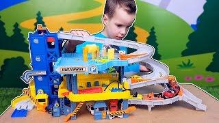 Трек с машинками Большой гараж Matchbox Пожарная и полицейская Kids cars and trucks. Nick Turbo