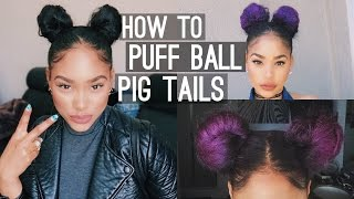 getlinkyoutube.com-How to : Puff Ball Pig Tails (Space Buns)
