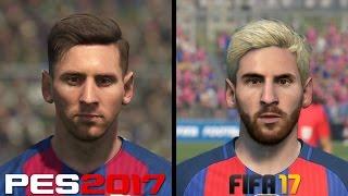 getlinkyoutube.com-FIFA 17 vs PES 2017 Faces Comparison - Barcelona: Messi, Suarez, Neymar