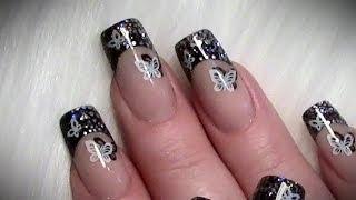 getlinkyoutube.com-Stamping Glitter Nageldesign mit Schmetterlingen / Nail art design Tutorial