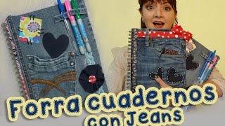 getlinkyoutube.com-Forra y Decora los  Cuadernos con Jeans Mezclilla :: Chuladas Creativas :: Manualidades