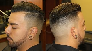 getlinkyoutube.com-Slicked Back Pompadour with Bald Fade; pomp; scissor haircut; razor fade; side part