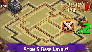 getlinkyoutube.com-Clash Of Clans: TH9 | BEST Clan War Base Layout (2 x Air Sweepers) - Atom 9