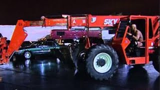 """getlinkyoutube.com-""""Stone Cold"""" Steve Austin traps Triple H in his car and drops him high above using a forklift: Survi"""