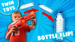getlinkyoutube.com-Nerf Challenge:  Water Bottle Flip Edition