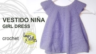 Tutorial Vestido Niña Bebé Crochet o Ganchillo Baby Girl Dress (English Subtitles)