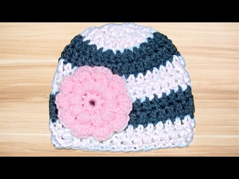 Crochet Baby 0-3 Months Old Hat Tutorial