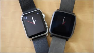 getlinkyoutube.com-Pebble Time Steel vs Apple Watch!