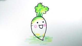 getlinkyoutube.com-how to draw white radish. daikon / 무우 그리기 / cute  かわいい 可愛  adorable kawaii /  예쁜 손그림 그리는 법