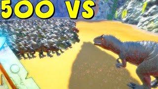 getlinkyoutube.com-ARK Survival Evolved - 500 T REX VS GIGANOTOSAURUS ( AFTER GIGA NERF ) | ARK Battle Gameplay