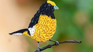 getlinkyoutube.com-quilling artwork | How to make Beautiful Yellow Bird design using Paper Art Quilling - Made Easy